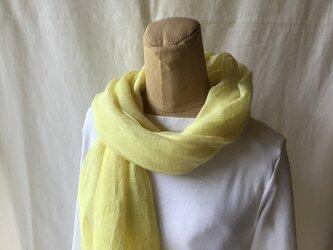 草木染め 麻ショール コブナグサ 黄色の画像