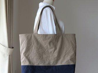 グレーベージュ×ミッドナイトブルー 浜松産帆布使用トートXL【受注製作】の画像