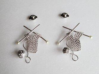 【こ様専用】編み物シリーズ・毛糸玉と棒針ニット編み始め… SV925の画像