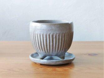 ブルーグレーの植木鉢(しのぎ)の画像