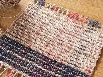 【手織り】アローとリネンのコースター#05の画像