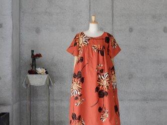 着物リメイク 浴衣のワンピース /M   ひまわりの画像