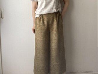 着物リメイクワイドパンツ 更紗柄の画像