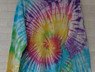 タイダイ染め カラフルサークル模様のTシャツ(XL)【長袖Tシャツ】の画像
