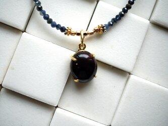 【お好きな長さで】ブラックオパール×サファイアの美しすぎるネックレスの画像