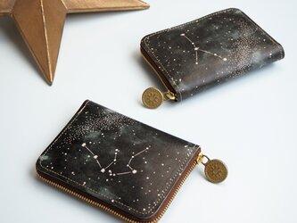 ラウンドファスナー コンパクト 財布 (12星座の星空※12デザイン) 本革 コンパクト レディース メンズの画像