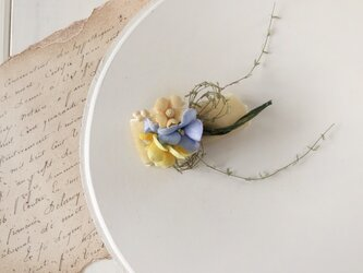 ベッチンリボンと染め花のミニ2way(ライトブルー&イエロー)の画像
