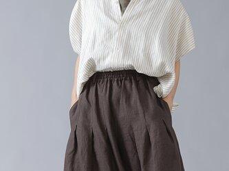 【wafu】やわらか高密度 ヘリンボーン リネン100% リネンシャツ/ストライプ t021c-stp2の画像