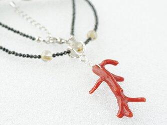 ~海が育てた赤い宝石~ 枝珊瑚とブラックスピネルのネックレスの画像