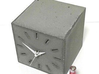 キューブ時計B-type コンクリート製《送料無料》の画像