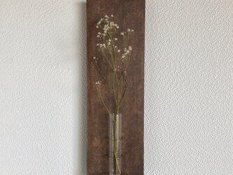 [柿渋染め]和紙の壁掛け一輪挿しの画像