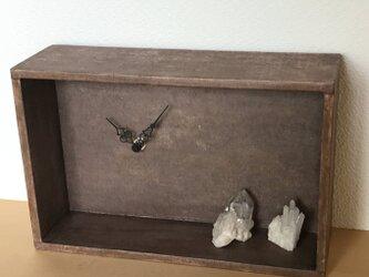 [柿渋染め]和紙の箱型時計の画像