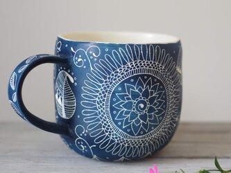 青いマグカップ(大3)の画像