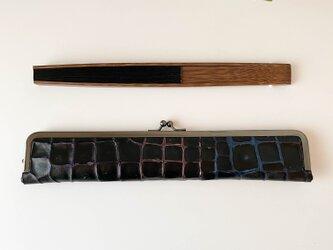 ダンディな大人の扇子ケース/24cm/ブラックグラデーション本革の画像