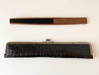 スタイリッシュな大人の扇子ケース/24cm/ブラックレザー本革の画像