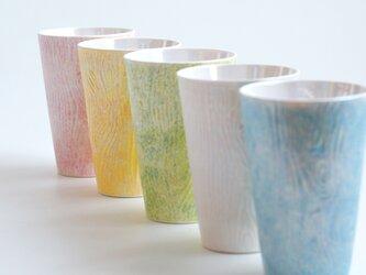 煌めく木目のビアカップ (ブルー・イエロー・ピンク・グリーン)の画像