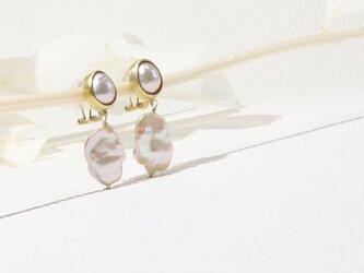 ローズピンクパールのイヤリングの画像