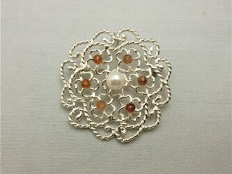 パール シトリンの花ブローチ(ペンダント)の画像