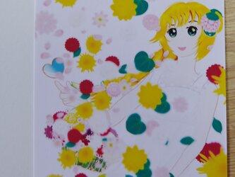 No.7 ポストカード「花の女神フローラ(ダリア、八重ひまわり)」の画像