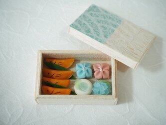 若鮎と紫陽花の和菓子の画像