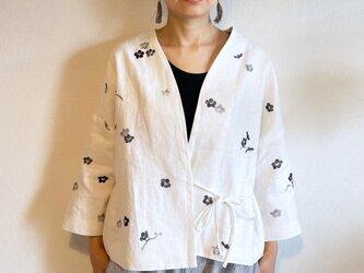 袷のショートジャケット白 墨梅の画像
