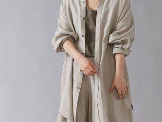 【wafu】 リネン  オーバーシャツ メンズライク シャツ ダブルカフス やや薄手/亜麻ナチュラル t021b-amn1の画像