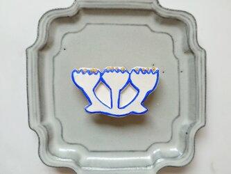 みつまたフラワーのブローチ2(ブルー) せきそ粘土の画像