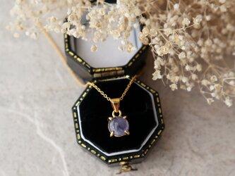 【14kgf】宝石質タンザナイトの一粒ネックレス(ラウンド)*12月誕生石の画像