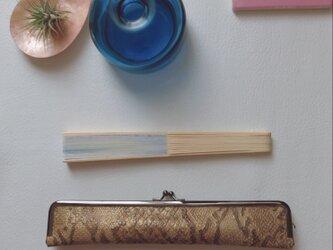スタイリッシュな大人の扇子ケース(p)/24cm/蛇型押し本革の画像