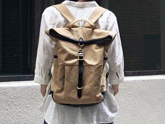 guide<タン>:倉敷帆布×杤木レザーリュックの画像