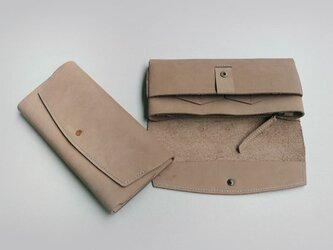 やわらかい革の長財布 ヌバックの画像