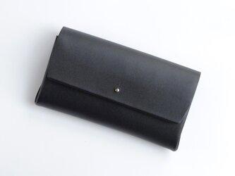 スアレロングウォレット 3ポケット #黒 / suare long wallet #black 長財布の画像