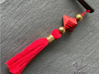 【送料無料】かんざし 木 揺れる 普段使い ハンドメイド 日本伝統の折り紙使用 撥水仕上げ 職人技 赤 プレゼント【幸菱】の画像