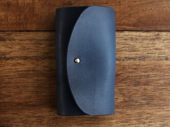 藍染レザーのキーケースの画像