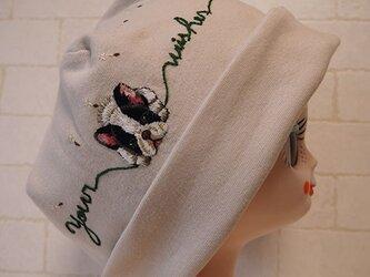 Kimi様ご注文品コットン素材でスパンフライスニット生地作ったニット帽(ブルちゃんとたんぽぽ)の画像