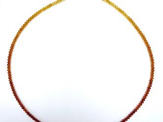 極小リトアニア産バルティックアンバーネックレス 天然琥珀 3mm グラデーション 金属アレルギー対応 40cm+アジャスターの画像