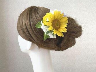 向日葵とデルフィニュウムのヘアクリップ  レースリボン 向日葵 おでかけ 浴衣 イエロー 髪飾りの画像