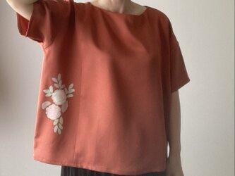 着物リメイクプルオーバー レンガの画像