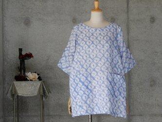 着物リメイク 有松絞りのチュニックブラウス/フリーサイズ  綿紅梅の画像