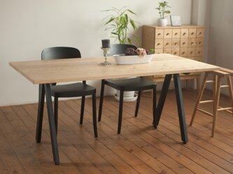 【幅120cm】栗とスチールのダイニングテーブル<シザータイプ>の画像