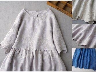 リネン100%贅沢総刺繍ポケット付きシンプルな大人可愛い五分袖ワンピース♪の画像