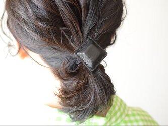"""【レザーヘアゴム】Airas Spuare~hair~tie""""black""""の画像"""