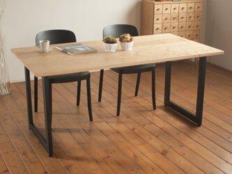 【幅120cm】栗とスチールのダイニングテーブル<スクエアタイプ>の画像