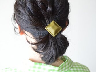 """【レザーヘアゴム】Airas Spuare~hair~tie""""khaki""""の画像"""