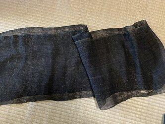 kaya004201 麻布 蚊帳の解き150cm 藍染☆古布古裂/木綿/筒描き/型染め/藍染/絹/ボロ襤褸の画像