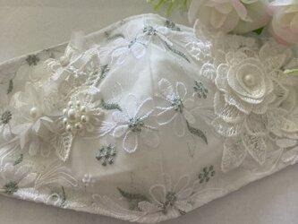 不織布マスクが透けて見えるカバー白マーガレット刺繍チュールレース ケミカルレース抗菌クレンゼの画像