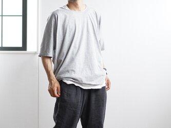 【見習い製作品!】とろみリネン混Tシャツ 男女兼用 ドルマン 薄地 #training/杢グレー t020h-mgr1*kの画像