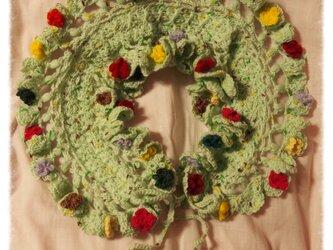 *小花モチーフのフリルマフラー/カラー* ミントグリーンの画像