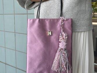 ちょこっとお出かけバッグ イタリアインポート高級シルクサテン スワロフスキーがポイントのミニバッグの画像