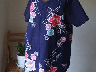 柿渋染浴衣でTシャツ代わりのブラウス 木綿の画像